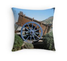 A rustic wooden cart Throw Pillow