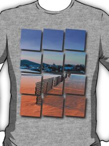 Fences, evening sun and the village | landscape photography T-Shirt