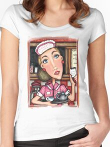 Retro Diner Diva T-Shirt Women's Fitted Scoop T-Shirt