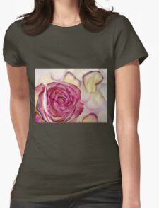 Pink rose with petals 10 Womens Fitted T-Shirt