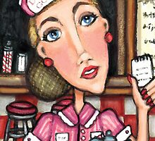 Retro Diner Diva Art Print by Jamie Wogan Edwards