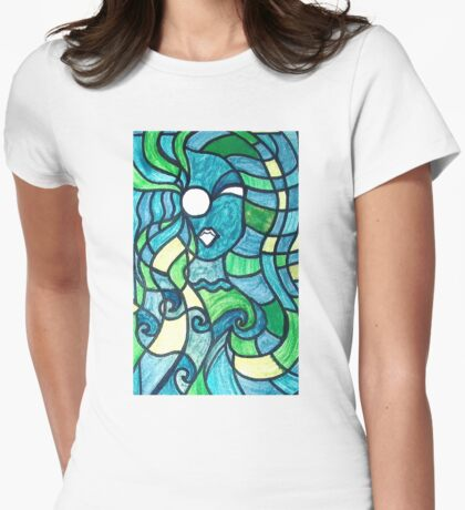 Water flows through her Womens Fitted T-Shirt