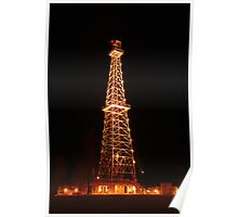 Oil Derrick at Night Poster