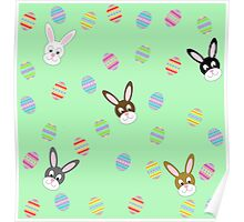 Easter Bunnies with Easter Eggs Poster