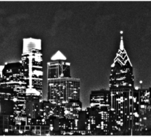Close Up - Philadelphia Skyline Monochrome Sticker