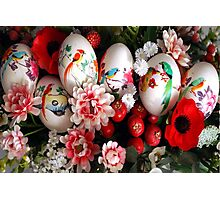 Easter eggs and flowers Photographic Print