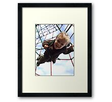 Boy trap'd in spiders web!! Framed Print