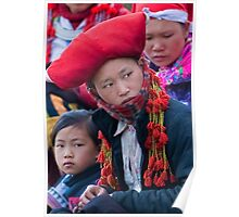 Black Hmong Woman with Child in Topas, Northern Vietnam Poster