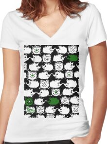 Too Many GREEN Hedgehogs Women's Fitted V-Neck T-Shirt