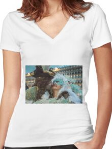 Masked Lovers in Venice Women's Fitted V-Neck T-Shirt