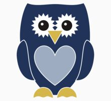 Blue Owl with Heart One Piece - Short Sleeve