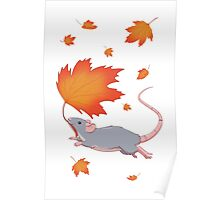 Autumn Leaves (blue) Poster
