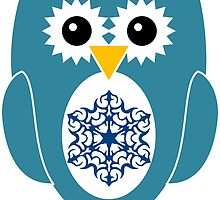 Blue Owl with Snowflake by ChristianMugs