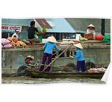 Selling Produce on the Mekong Floating Market, Mekong River, Southern Vietnam Poster