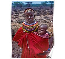Masai Mother and Baby, Serengeti, East Africa Poster