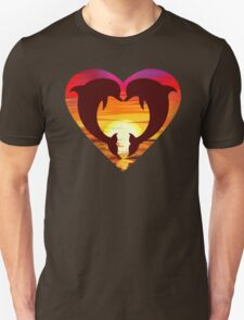 Love Dolphins - Sunset Heart T-Shirt