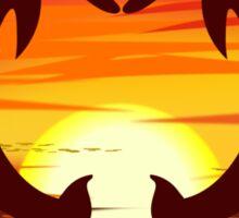 Love Dolphins - Sunset Heart Sticker