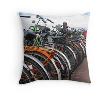 Amsterdam Bikes. Throw Pillow