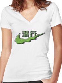 Chinese Sneak Green Snake Skin Women's Fitted V-Neck T-Shirt