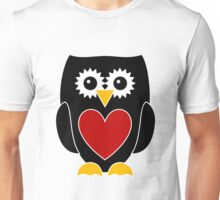 Black Owl with Red Heart Unisex T-Shirt