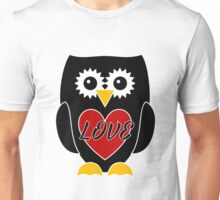 Black Owl with Red Heart - Love Unisex T-Shirt