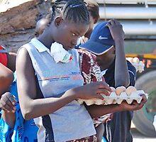 The Zambian egg seller,  Kazangula Ferry Crossing, Zambia, Africa by Adrian Paul