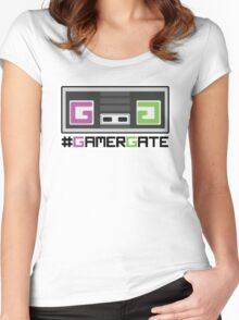 Pink and Green #GamerGate NES Controller Women's Fitted Scoop T-Shirt