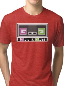 Pink and Green #GamerGate NES Controller Tri-blend T-Shirt