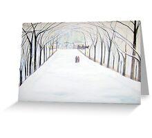 The  Silent Snowfall  Walk  /  Central  Park  NYC      Greeting Card