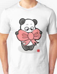 Panda In Pink Ribbon Unisex T-Shirt