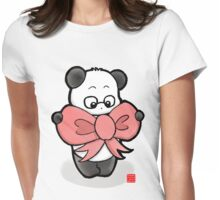 Panda In Pink Ribbon Womens Fitted T-Shirt