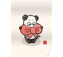 Panda In Pink Ribbon Poster