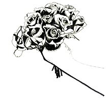 Line Drawing Of Roses Photographic Print