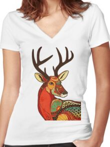 The Deer Women's Fitted V-Neck T-Shirt