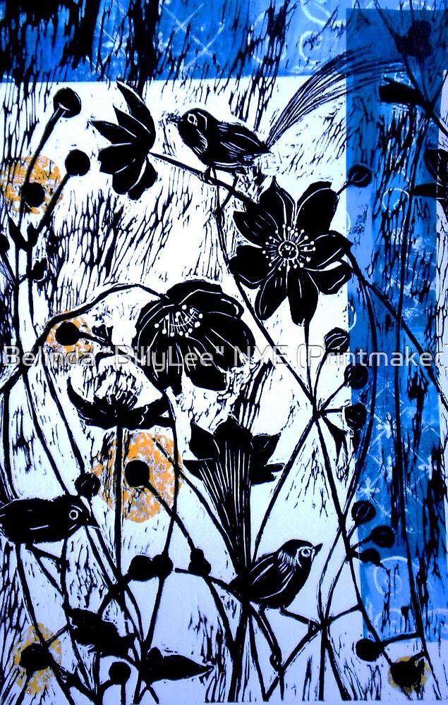 """Japanase Windflowers - Chine Colle Woodcut by Belinda """"BillyLee"""" NYE (Printmaker)"""