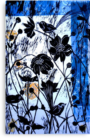 "Japanase Windflowers - Chine Colle Woodcut by Belinda ""BillyLee"" NYE (Printmaker)"