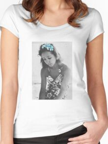 A Young Anais Nin with Blue Flowers Women's Fitted Scoop T-Shirt
