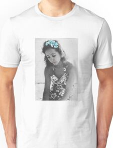 A Young Anais Nin with Blue Flowers Unisex T-Shirt