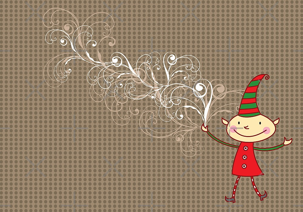 Swirly Magical Christmas Elf by fatfatin