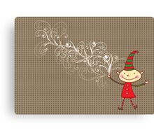 Swirly Magical Christmas Elf Canvas Print