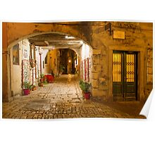 Street in the Old Town at Dusk, Rovinj, Croatia Poster