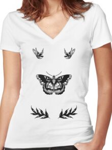 Harry Styles Tattoos Women's Fitted V-Neck T-Shirt