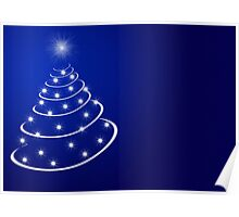 Christmas tree with stars Poster