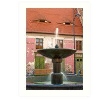 Eyes above the Fountain, Historic Center of Sibiu, Romania Art Print