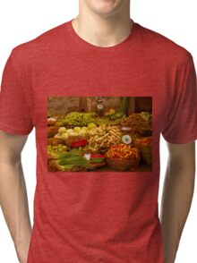Fresh Vegetables, Street Market in Can Tho, Southern Vietnam Tri-blend T-Shirt
