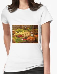Fresh Vegetables, Street Market in Can Tho, Southern Vietnam Womens Fitted T-Shirt