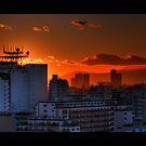 Sunset from our flat looking towards Mount Fuji; Omori, Tokyo, Japan by Alfie Goodrich