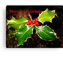 Holly Christmas Card Canvas Print