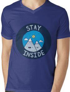 Stay Inside Sticker Mens V-Neck T-Shirt