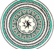 Turquoise Circle Mandala With Yin Yang by Masuttles